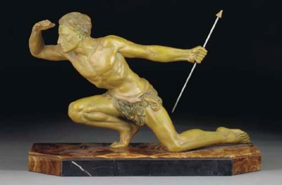 A green-patinated spelter figu