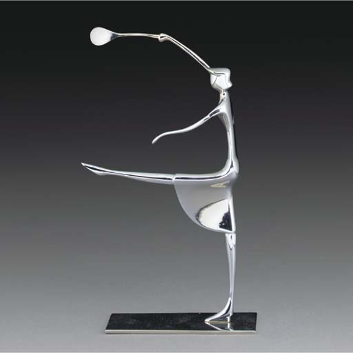 A chromed metal figure