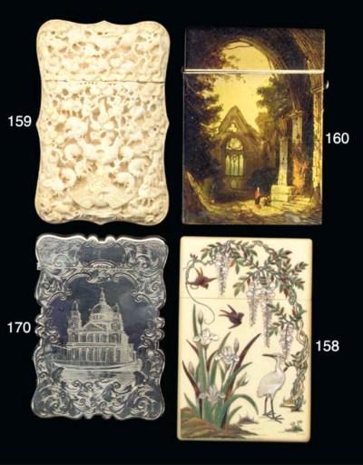 An Oriental ivory card case