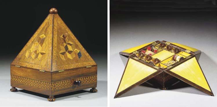 A Tunbridgeware sewing box