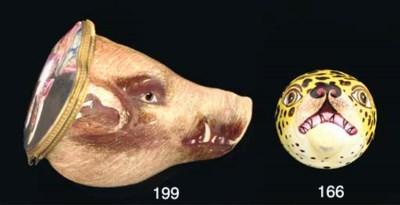 An enamel boar's head bonbonni