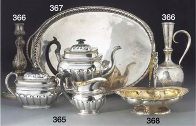 A Russian silver gallery tray