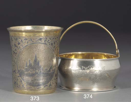 A RUSSIAN SILVER-GILT AND NIEL