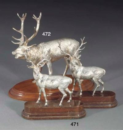 A Modern Silver Stag Ornament