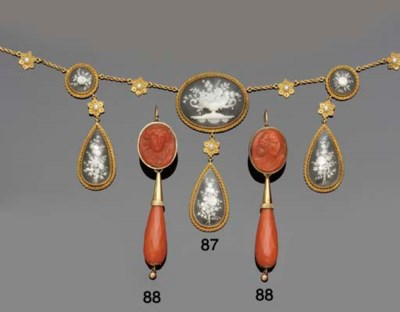 A pair of antique coral earpen