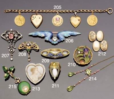 An Art Nouveau gold, pearl, en