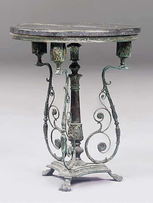 A BRONZE SIDE TABLE