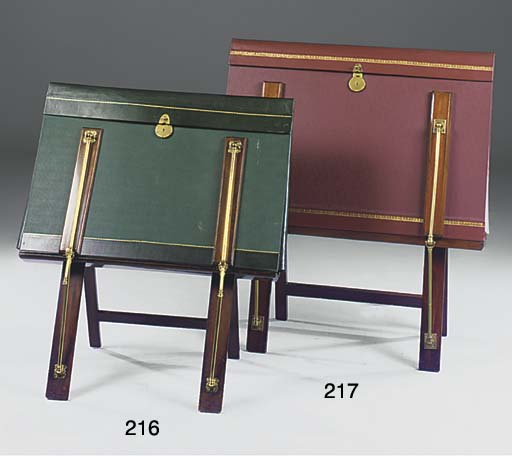 A MAHOGANY GILT BRASS AND RED