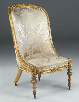 AN EARLY VICTORIAN GILTWOOD AN