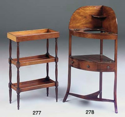 A mahogany corner washstand
