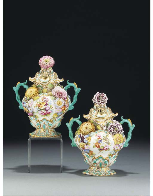 A pair of Coalport two-handled