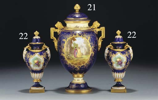 A pair of Royal Worcester two-