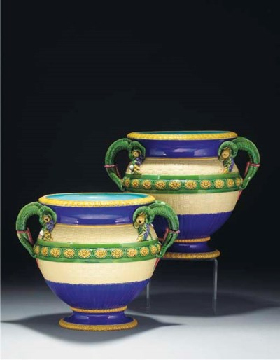 A pair of Minton majolica two-