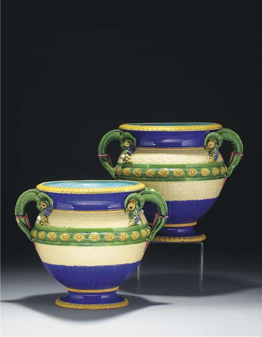 A pair of Minton majolica two-handled jardinieres