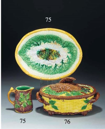 An English majolica two-handle