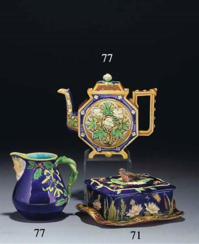 An English majolica teapot and