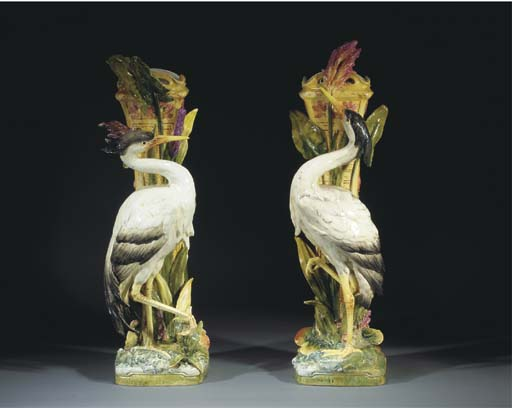 A pair of Royal Dux faience st