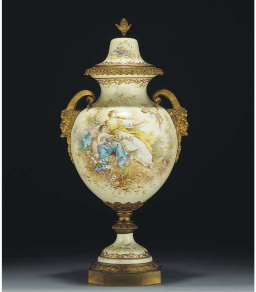 A gilt-metal mounted Sevres-style two-handled oviform vase and domed cover