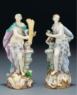 Two Meissen allegorical figure