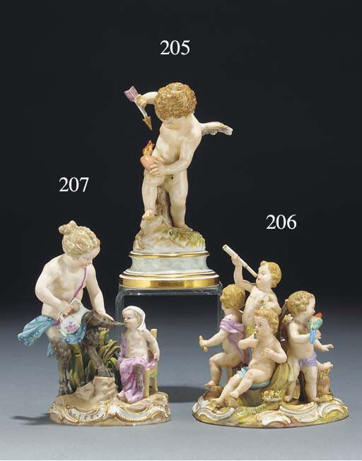 A Meissen group of a faun and
