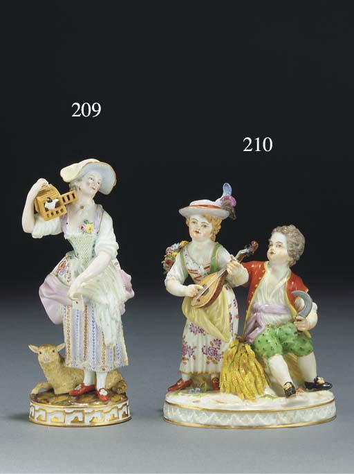 A Meissen allegorical group of