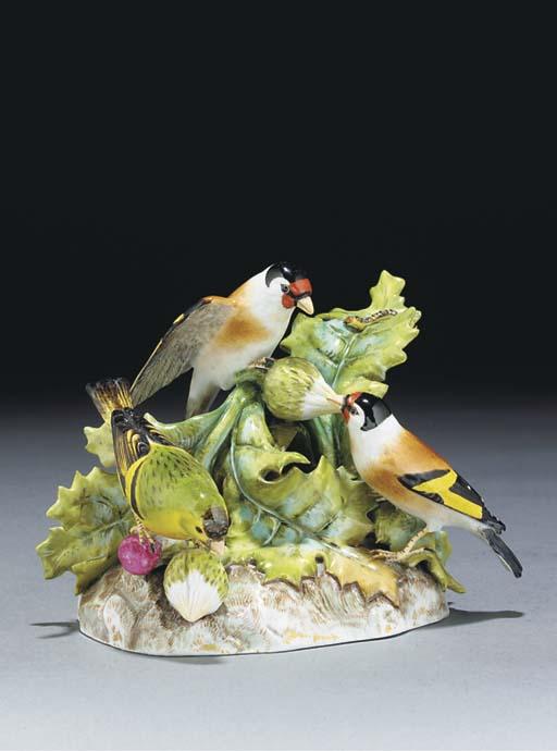 A Meissen group of birds