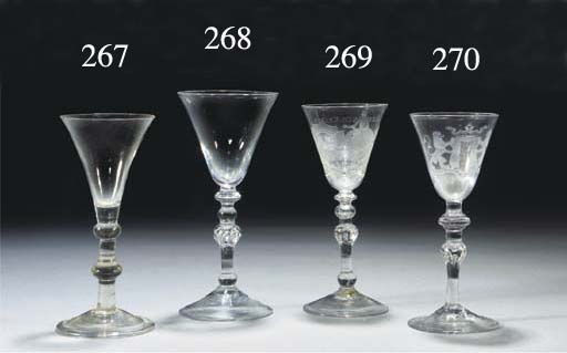 A 'Newcastle' Dutch-engraved armorial light-baluster goblet