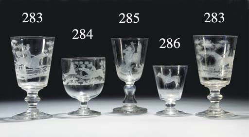 An engraved rummer and wine-gl