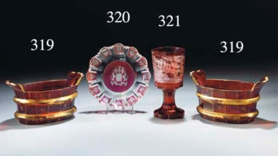Three items of Bohemian ruby-f