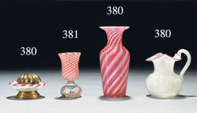 A St Louis latticinio vase; a