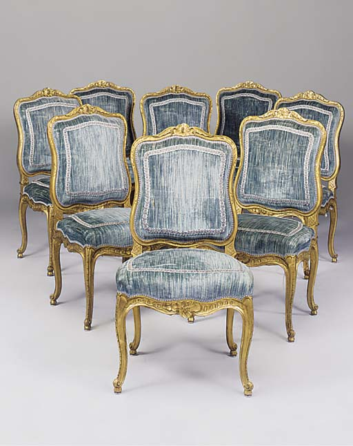 A SET OF EIGHT GILTWOOD SIDE C