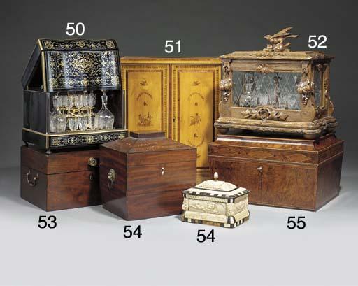 A Regency mahogany sarcophagus shaped tea chest