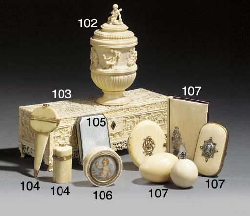 A Victorian ivory & silver dec