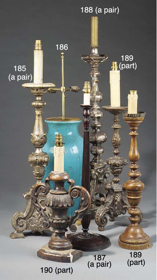 A turquoise glazed ceramic vas