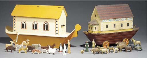 A VICTORIAN PAINTED WOOD NOAH'