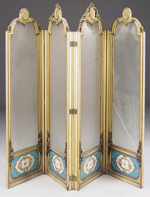 A VICTORIAN GILT WHITE-PAINTED