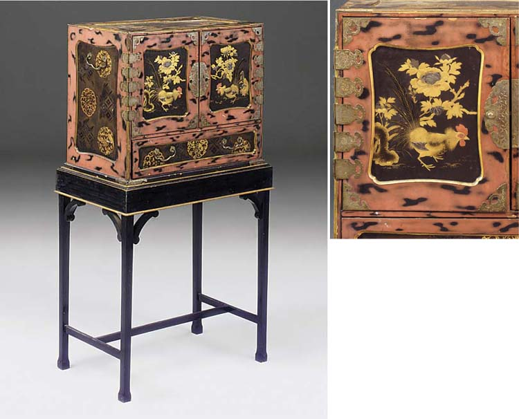A Japanese lacquer and gilt decorated cabinet on later stand