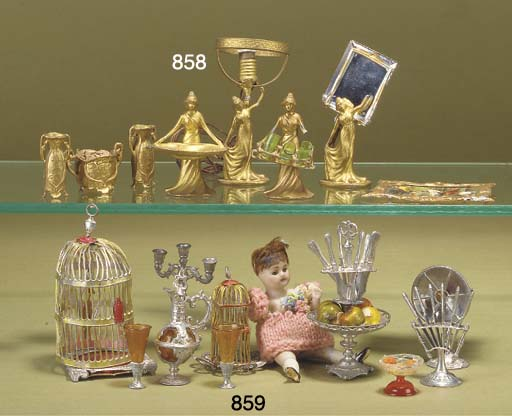 Dolls' house furniture and cha