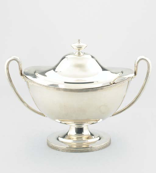 A SILVER-PLATE SOUP TUREEN AND