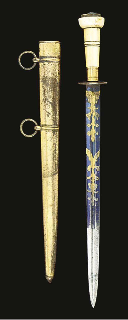 AN 18TH CENTURY IVORY, GILT-BR