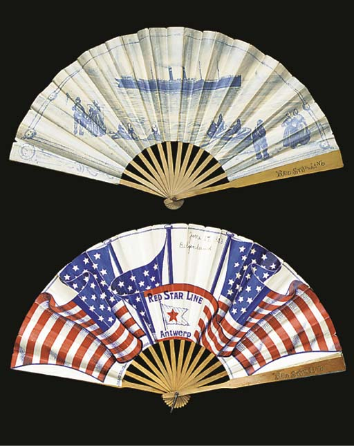A WOOD AND FOLDED PAPER FAN
