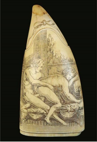 A SCRIMSHAW-WORKED WHALE'S TOO