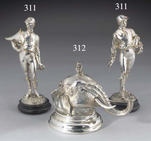 A Pair of Plated Jockey Orname