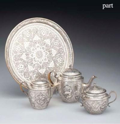 A Persian Silver Part Tea Serv