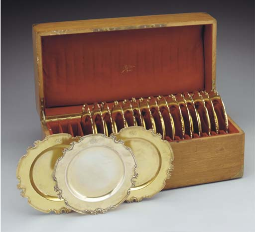 A Set of Eighteen French Silve