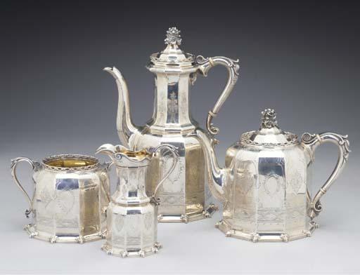 A Four Piece Victorian Silver