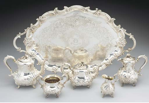 A Five-Piece Victorian Silver