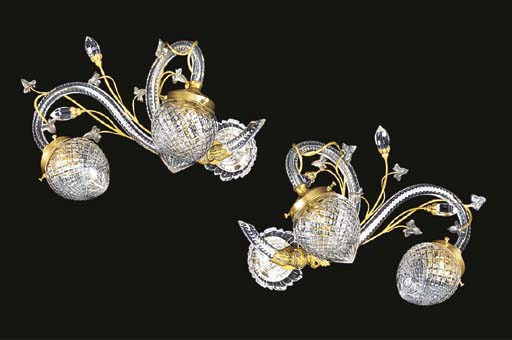 A PAIR OF GLASS AND GILT METAL