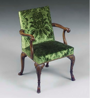A WALNUT CHILDS ARMCHAIR