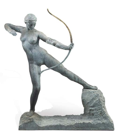 A BRONZE FIGURE OF DIANA THE H